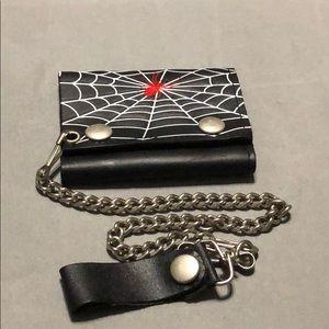 Biker leather wallet (spider)